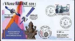 "VA202L-T1 : 2011 - FDC Kourou ""Vol 202 Ariane - Sat. GSAT-8 & STS-2"" (TYPE 1)"