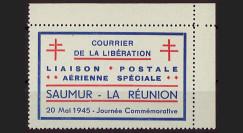 """W2-LIB0153 : 1945 - Vignette Poste Aérienne """"Courrier Libération Saumur - La Réunion"""""""