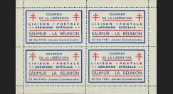 """W2-LIB0154 : 1945 - Bloc 4 Vignettes Poste Aérienne """"Courrier Libération Saumur - La Réunion"""""""