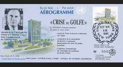 "IK4 : 1990 - FDC USA ""CRISE DU GOLFE / Nations Unies - M. MITTERRAND"