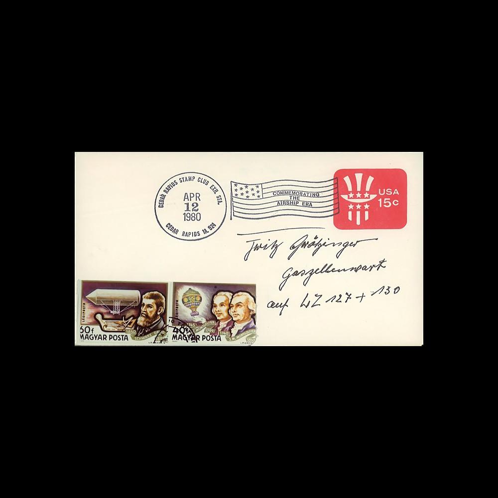 """LZ129-005D : 1980 - EP USA """"Commémoration ère des Grands Dirigeables"""" signé"""