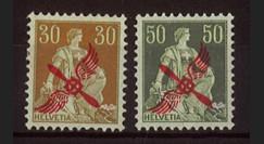 """AV-0104 : SUISSE Poste Aérienne 1919/20 """"Timbres de 1907-17 surchargés"""" (YT 1/2)"""