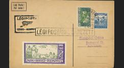 """AV-0118 : 1925 - Carte spéciale HONGRIE à bord """"1er Vol Postal Szeged-Budapest"""""""