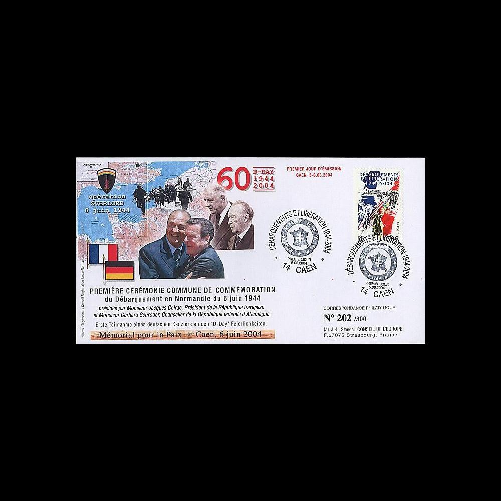 DEB 04-7 : 2004 - FDC D-Day - 1ère cérémonie commune franco-allde