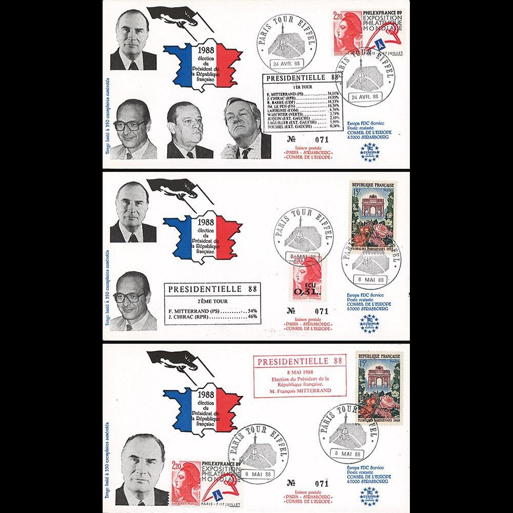 """PRES88-1/3 : 1988 - Série de 3 FDC """"Présidentielle 1988 - réelection de F. Mitterrand"""""""