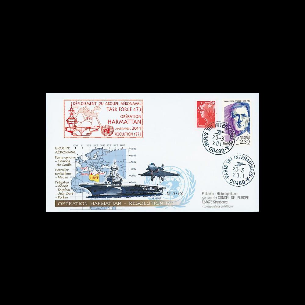 """LYBIE11-1 : 2011 - Pli FRANCE """"Opération Harmattan Libye 2011 - PAN Charles de Gaulle"""""""