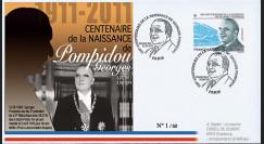 """POMP11-1 : 2011 - FDC FRANCE """"Centenaire de naissance de Georges Pompidou"""" Paris"""