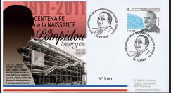 """POMP11-2 : 2011 - FDC FRANCE """"Centenaire de naissance de Georges Pompidou"""" Cajarc"""