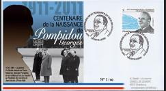 """POMP11-3 : 2011 - FDC FRANCE """"Centenaire de naissance de Georges Pompidou"""" Orvilliers"""