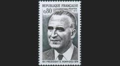 """CE27II-N : 1975 - FRANCE Timbre """"1er anniversaire de la mort de Georges POMPIDOU"""""""