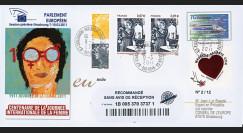 """PE601a : 2011 - FDC Recommandée Parlement européen """"Centenaire Journée de la Femme"""""""
