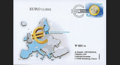 "PE599A : 2011 - ESTONIE FDC 1er Jour du TP ""Introduction de l'Estonie dans la Zone Euro"""