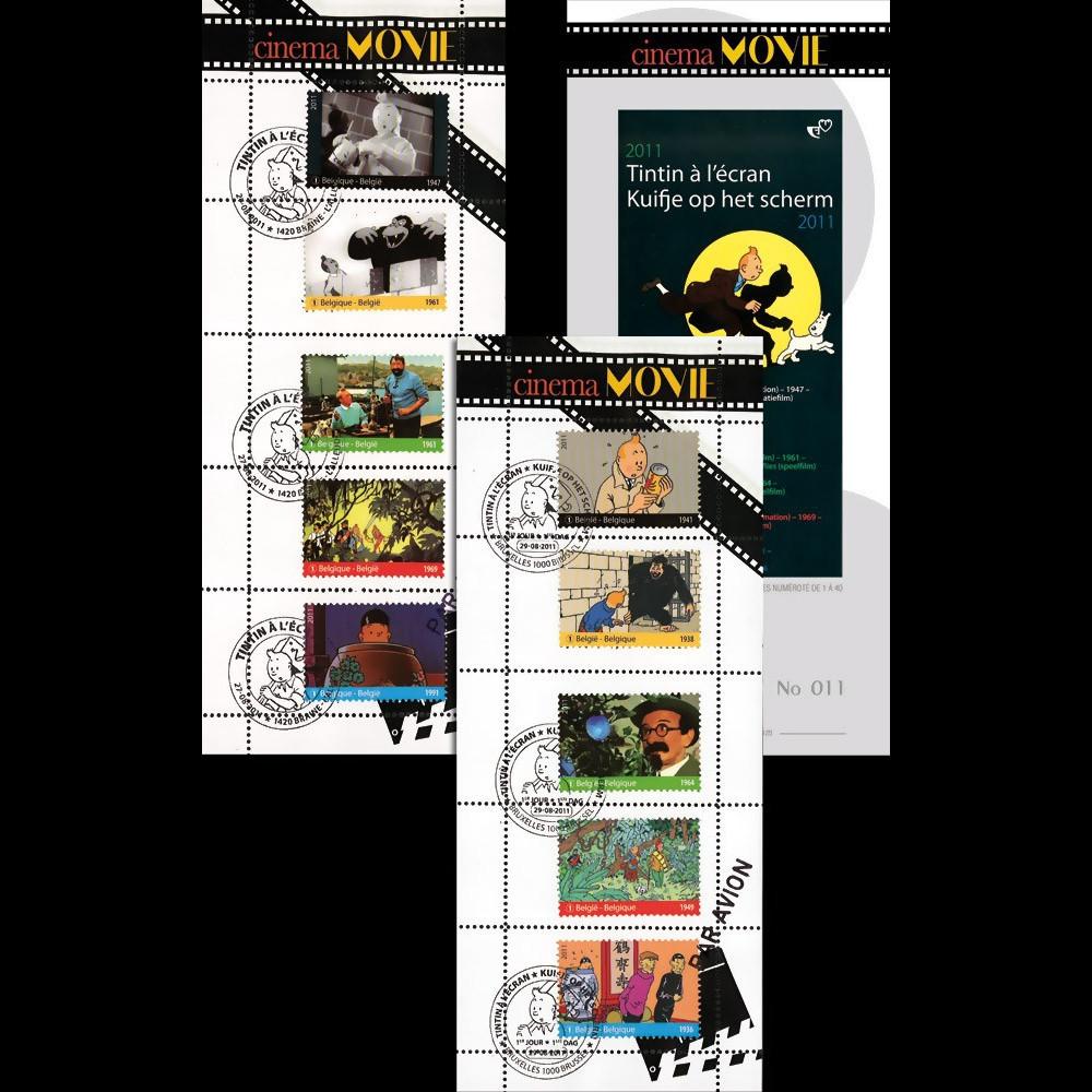 """TIN11-CPT : 2011 - BELGIQUE Série de 2 carnets porte-timbre """"Tintin à l'Ecran"""""""
