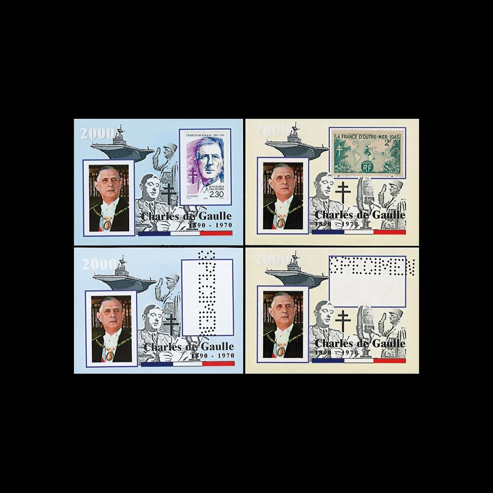 """PADG004PT : 2000 - 4 porte-timbres """"Hommage au Gal de Gaulle 1890-1970 - Porte-avions"""""""