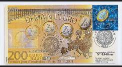 PE436 : 2001 - FDC 1er Jour TP 'Demain l'Euro' à double-faciale - France