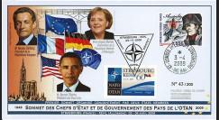 "OTAN09-2T2 : 2009 - FDC ""60e Sommet OTAN Strasbourg-Kehl / SARKOZY - OBAMA - MERKEL"""