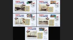 "TIN12-COL1 : 2012 - Série 5 FDC BELGIQUE ""TINTIN et LA MARINE"" (Angoulême)"