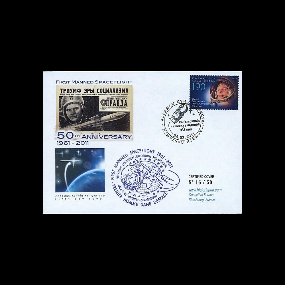 "GAGARIN11-7 : 2011 - FDC KAZAKHSTAN ""Youri Gagarine - 50 ans 1er Homme dans l'Espace"""