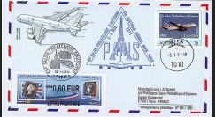 """A380-159T1 : 2011 - FFC """"Vol du 65e Salon Philatélique d'Automne - A380 - Austrian Airlines"""""""