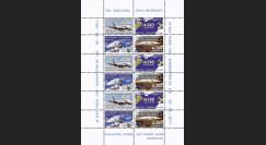 """A380-133FD : 2011 - Feuillet 12 vignettes """"Airbus A380 Air France - 1er Vol AF028 Paris-Washington"""""""