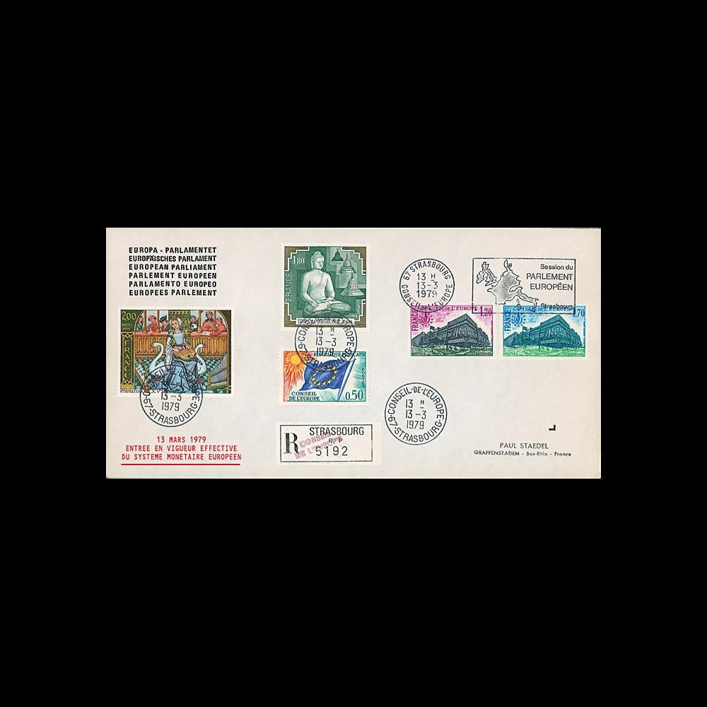 """ECU2b : 1979 - Env. RECOMMANDEE """"Entrée en vigueur du Système Monétaire Européen"""""""