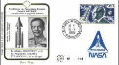 "BAUD1 : 1986 FDC ""Patrick BAUDRY au Parlement européen / Mission Discovery 51G"""