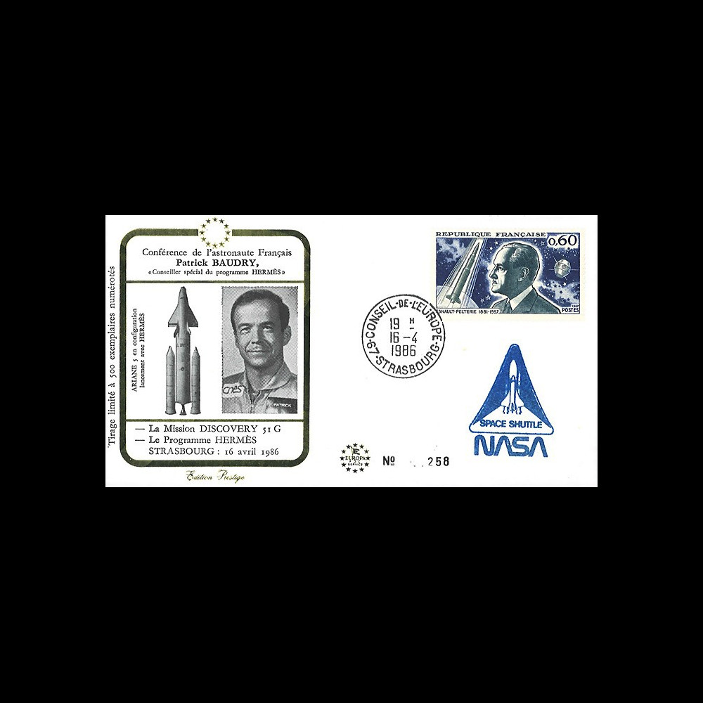 "BAUD1 : 1986 FDC ""Patrick BAUDRY au Parlement européen / Mission Discovery 51G"""