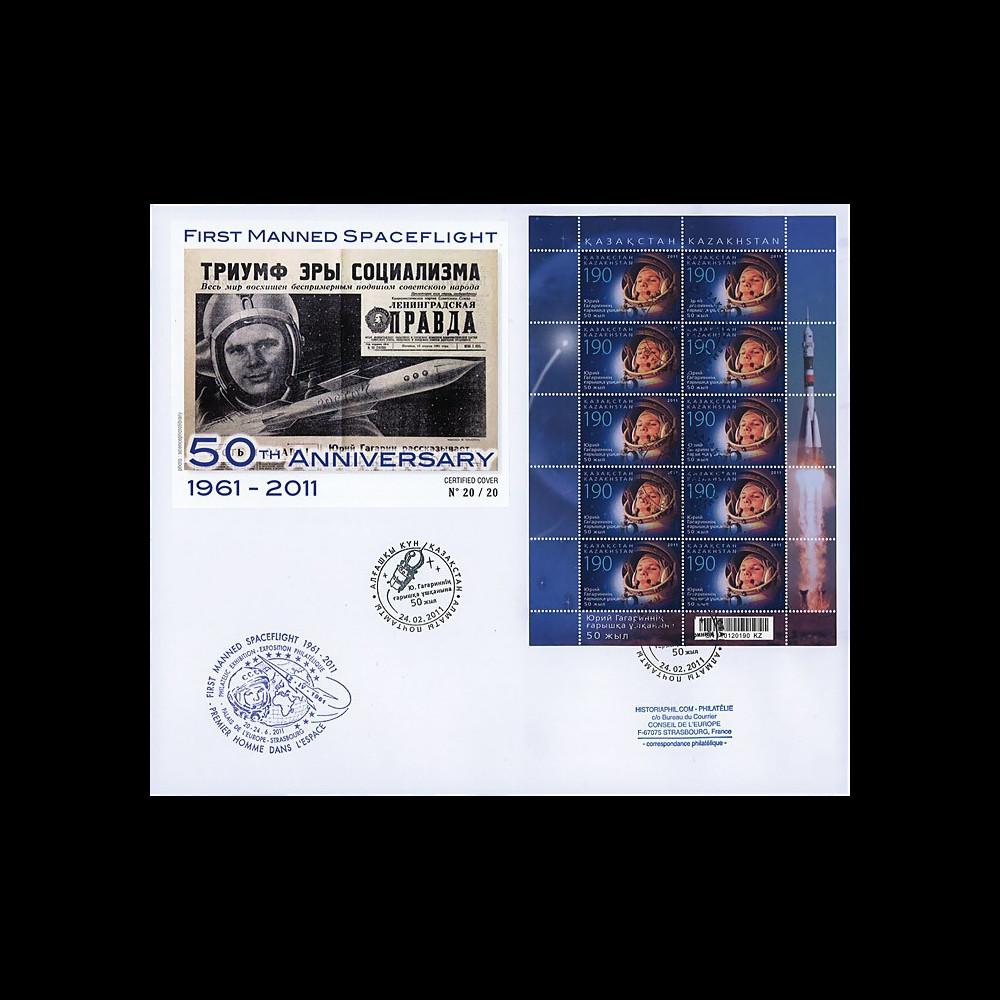 """GAGARIN11-7B : 2011 - Maxi FDC KAZAKHSTAN """"GAGARINE - 50 ans 1er Homme dans l'Espace"""""""