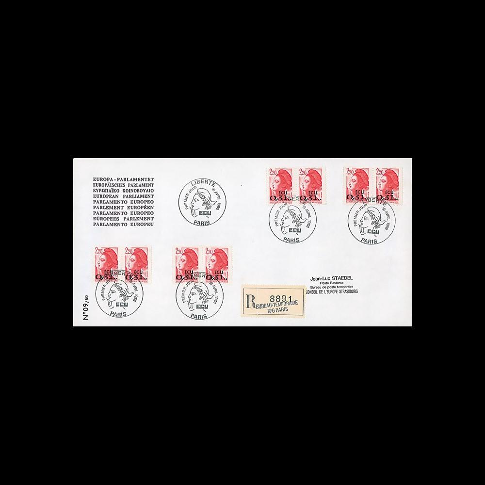 """PE163a : 1988 - EO RECO 1er Jour Paris """"Premier timbre à valeur faciale en ECU 0"""