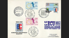 """ECU4L : 1968-1988 - FDC Hongrie 1er Jour du TP """"20 ans Eurochèque / Congrès à Budapest"""""""