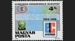 """ECU4 : 1968-1988 - Hongrie 1 valeur """"20 ans de l'Eurochèque et Congrès à Budapest"""""""