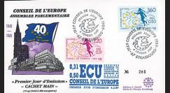 """PJ100-101 : 1949-1988 - FDC Conseil de l'Europe """"1er Jour des 1ers TP de service en ECU"""""""