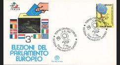 """PE189ECU : 1989 - FDC Italie PJ du 1er TP en ECU """"3e élections au suffrage universel au PE"""""""