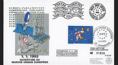 """PE257 : 1.1.1993 - FDC Session PE """"Ouverture Marché unique européen - libre circulation"""""""