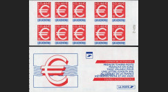 "PE378CA-NF : 1999 - France Carnet de 10 valeurs ""1er timbre Franc/Euro"" (adhésif)"