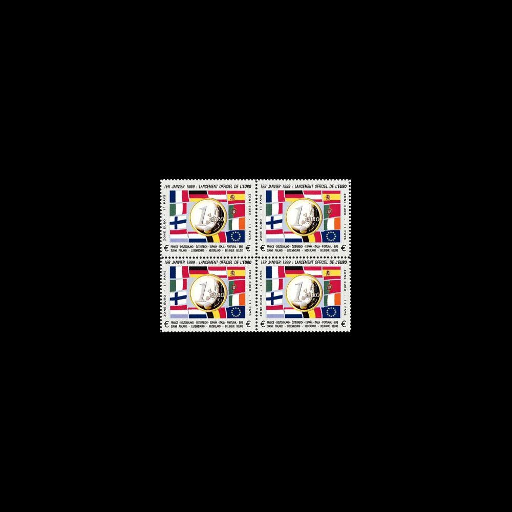 """PE378V4D : 1999 - Bloc de 4 vignettes dentelées """"1-1-1999 lancement officiel de l'EURO"""""""