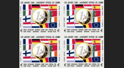 "PE378V4ND : 1999 - Bloc 4 vignettes non-dentelées ""1-1-1999 lancement officiel de l'EURO"""