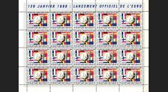 """PE378VF : 1999 - Feuille de 20 vignettes dentelées """"1-1-1999 lancement officiel de l'EURO"""""""