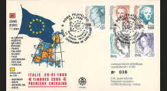 """PE384 : 28.01.1999 - FDC Italie """"1er Jour des premiers timbres en Euro"""""""
