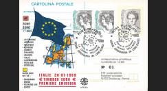 """PE384A : 28.01.1999 - Entier postal (carte) Italie """"1er Jour des premiers timbres en Euro"""""""