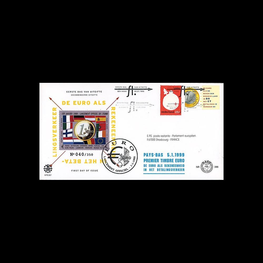 """PE387 : 5.01.1999 - FDC Pays-Bas """"1er Jour des 1ers timbres en Euro"""" - La Haye"""
