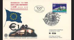 """PE390 : 7.05.1999 - FDC Autriche """"1er Jour du 1er timbre en Euro"""" - Wien"""