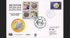 "PE391 : 29.04.1999 - FDC Irlande ""1er Jour du 1er timbre en Euro"" - Dublin"