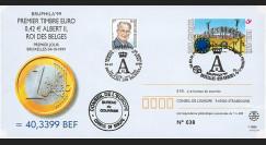 """PE399 : 4.10.1999 - Entier postal Belgique """"1er Jour du 1er timbre en Euro"""" - Bruxelles"""