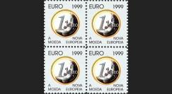 """PE388V4D : 1999 - Bloc de 4 vignettes dentelées """"EURO 1999"""