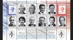 """EP12-1FD : Feuillet 10 vignettes """"France Présidentielle 2012 - 1er TOUR / 10 Candidats"""""""