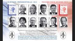 """EP12-1FND : Feuillet 12 vignettes non-dentelées """"Présidentielle 2012 - 1er TOUR / 10 Candidats"""""""