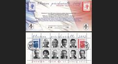 """PRES12-7C : France Carnet porte-timbres """"Présidentielle 2012"""