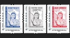 """PRES12-1/3N : France série des 3 timbres personnalisés """"Présidentielle 2012"""