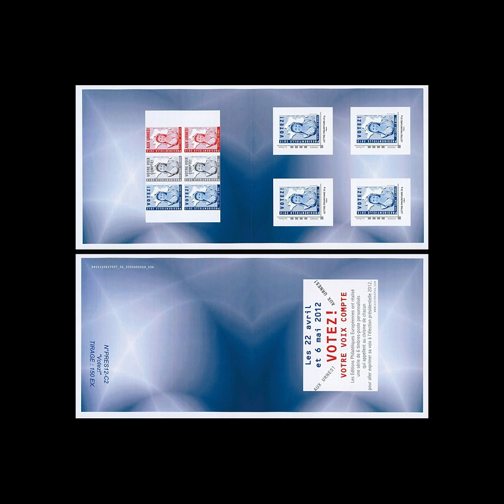 "PRES12-C1 : 2012 - FRANCE Carnet Collector 4 TPP ""Marianne - Election Présidentielle France"""